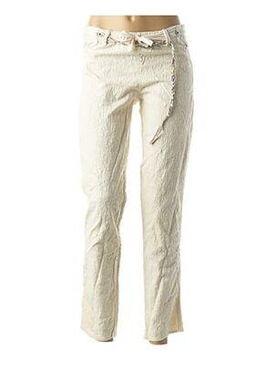 Pantalon 7/8 beige CATY LESCA pour femme