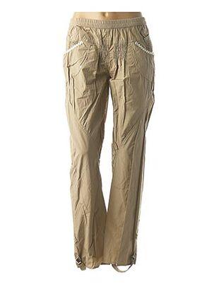Pantalon casual beige CATY LESCA pour femme