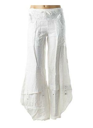 Pantalon casual blanc CATY LESCA pour femme