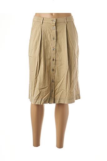 Jupe mi-longue beige BRUNO SAINT HILAIRE pour femme