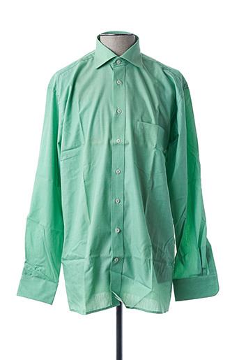 Chemise manches longues vert SEIDEN STICKER pour homme