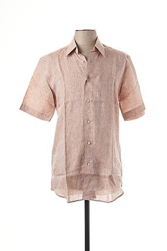 Chemise manches courtes marron DANIEL HECHTER pour homme