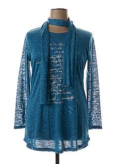 Pull tunique bleu MARBLE pour femme