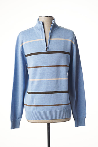 Pull col cheminée bleu NEW SPORTSWEAR pour homme