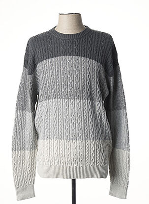 Pull col rond gris HAJO pour homme