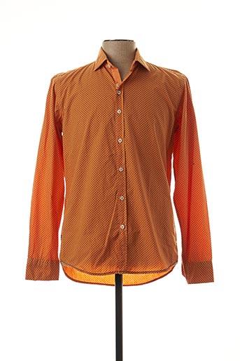 Chemise manches longues orange DARIO BELTRAN pour homme
