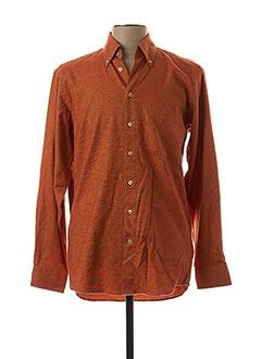 Chemise manches longues orange SEIDEN STICKER pour homme