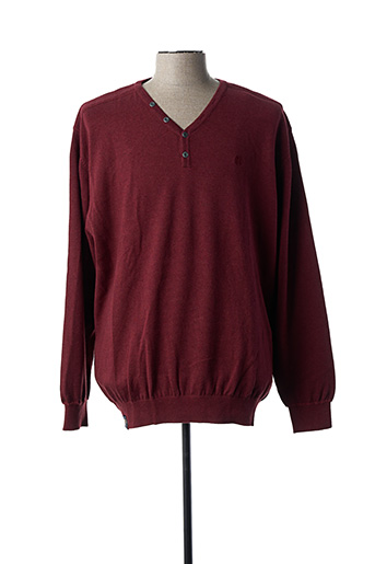 Pull col V rouge FELLOWS pour homme