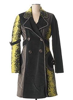 Manteau long vert CHESHIRE pour femme