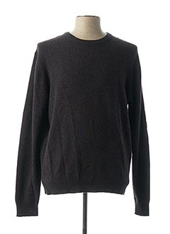 Pull col rond marron FACONNABLE pour homme