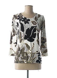 Pull col rond blanc CHRISTINE LAURE pour femme