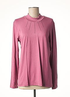 T-shirt manches longues rose CLAUDE DE SAIVRE pour femme
