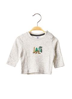 T-shirt manches longues gris PETIT BATEAU pour garçon