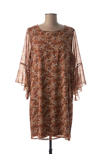 Robe mi-longue marron ESPERANCE pour femme