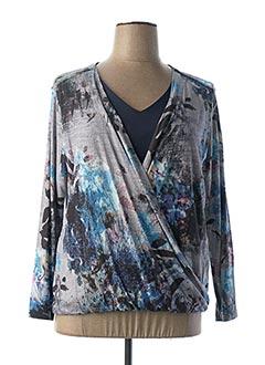 T-shirt manches longues bleu PAUSE CAFE pour femme