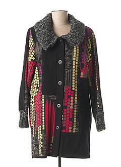 Manteau long noir GEVANA pour femme