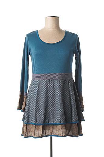Robe courte bleu NID D'ABEILLE pour femme