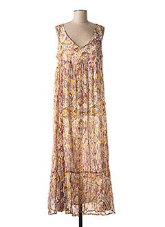 Robe mi-longue marron GOLD&SILVER PARIS pour femme