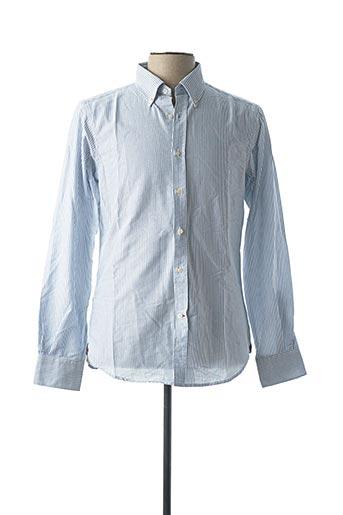 Chemise manches longues bleu DANIEL CREMIEUX pour homme