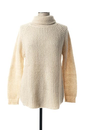 Pull col roulé beige MY SUNDAY MORNING pour femme