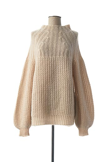 Pull col cheminée beige MY SUNDAY MORNING pour femme