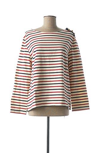 T-shirt manches longues rouge PETIT BATEAU pour femme
