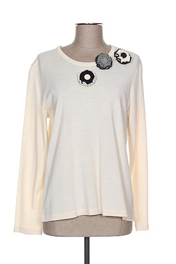 Pull col rond blanc LUCIA pour femme