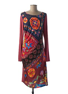 Robe mi-longue rouge DESIGUAL pour femme