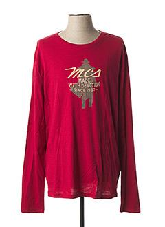 T-shirt manches longues rouge MCS pour homme