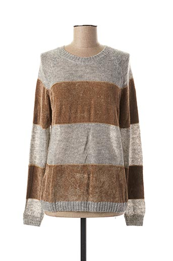 Pull col rond gris INDI & COLD pour femme
