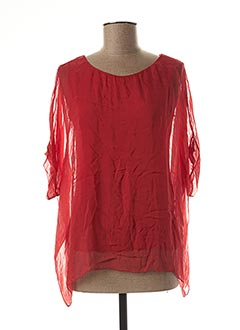 Blouse manches courtes rouge BLANC BOHEME pour femme