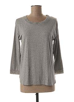 T-shirt manches longues gris BLANC BOHEME pour femme