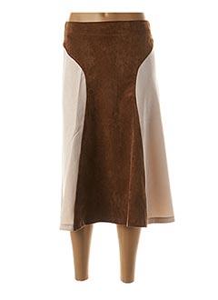 Jupe mi-longue marron BLANC BOHEME pour femme