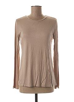 T-shirt manches longues marron BLANC BOHEME pour femme