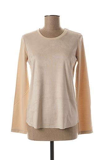 T-shirt manches longues beige BLANC BOHEME pour femme