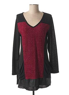 Pull tunique rouge MULTIPLES pour femme
