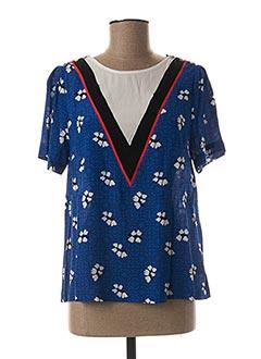 Blouse manches courtes bleu SUNCOO pour femme