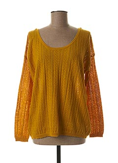 Pull col rond jaune KANOPE pour femme