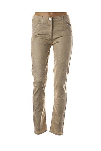 Pantalon casual beige BLEU D'AZUR pour femme