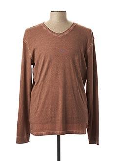 T-shirt manches longues marron MCS pour homme