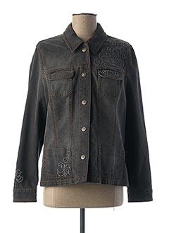 Veste en jean noir BRUNO SAINT HILAIRE pour femme