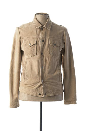 Veste en cuir beige PREMIUM DE JACK AND JONES pour homme
