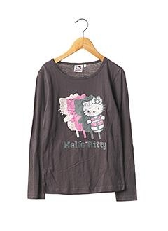 T-shirt manches longues gris HELLO KITTY pour fille