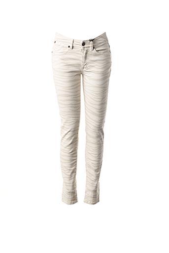 Jeans coupe slim beige IKKS pour femme