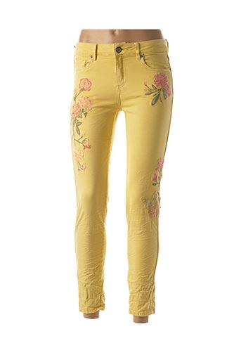Pantalon 7/8 jaune HAND WORK pour femme