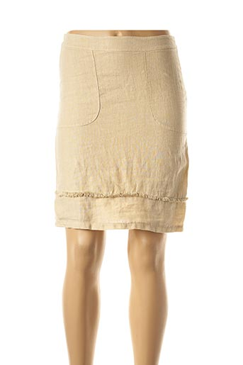 Jupe mi-longue beige POUSSIERE D'ETOLE pour femme