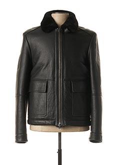 Veste en cuir noir TOMMY HILFIGER pour homme