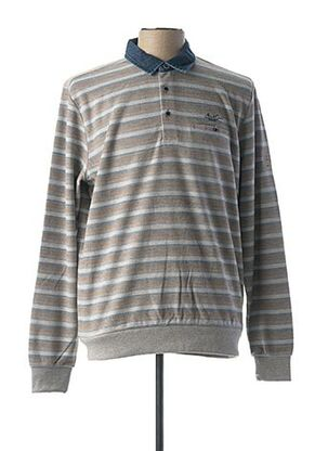 Pull col chemisier gris MONTE CARLO pour homme