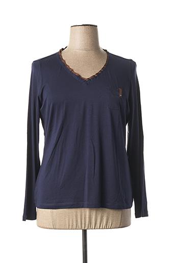 T-shirt manches longues bleu ELENA MIRO pour femme