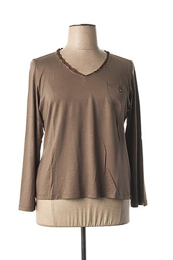 T-shirt manches longues marron ELENA MIRO pour femme